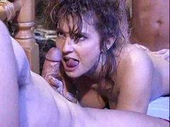Victoria Paris in 80's porno orgy