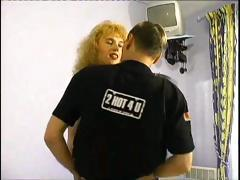 Horny blonde MILF gets a hardcore pile driver fucking in her pussy
